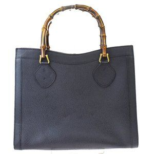 Authentic GUCCI Logo Bamboo Hand Bag Leather Black